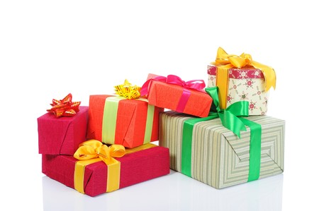 Gift boxes with ribbons and bows. Isolated on white background photo