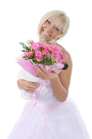 Happy bride with a bouquet of roses. Isolated on white background photo