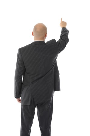Businessman points hand up. Isolated on white background photo