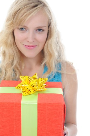 blonde with a gift box. Isolated on white background photo