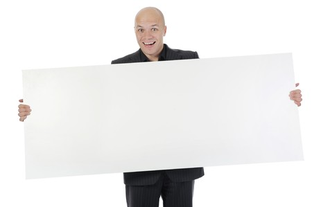 young man holding large blank. Isolated on white background photo