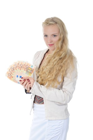 Young long-haired woman with a bundle of Euro banknotes. Isolated on white photo