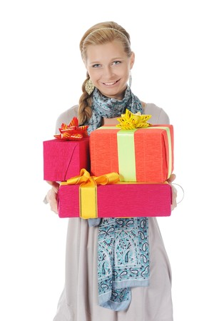 Young blonde with a gift. Isolated on white background Stock Photo - 7890809