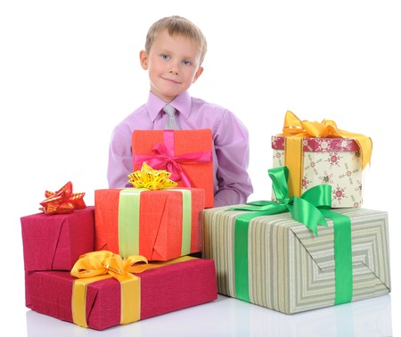 boy with gifts. Isolated on white background photo