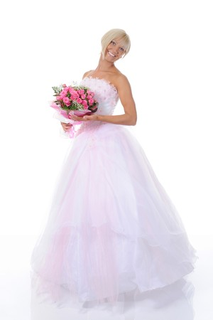 Happy bride with a bouquet. Isolated on white background Stock Photo - 7890845