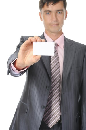 man handing a white blank. Isolated on white background photo