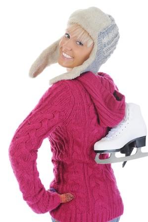 Girl with skates. Isolated on white background Stock Photo - 7890880