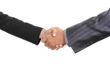Handshake two business partners. Isolated on white Stock Photo - 7905823