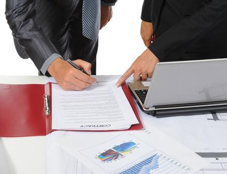 Signing the document partners. Isolated on white background Stock Photo - 7905826