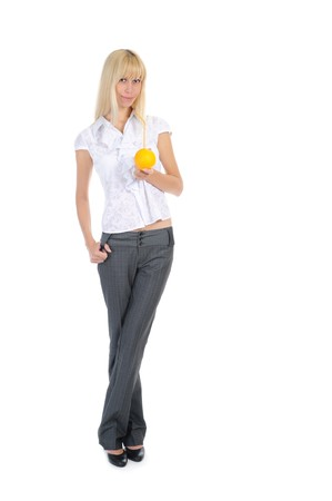 Blonde with orange drink. Isolated on white background photo