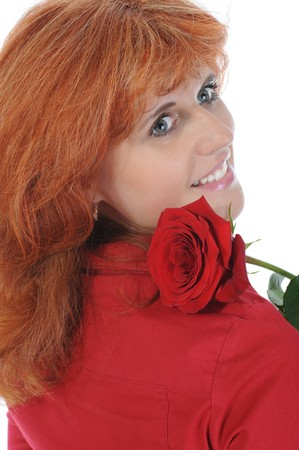Beautiful red-haired girl with a rose. Isolated on white background Stock Photo - 7890928