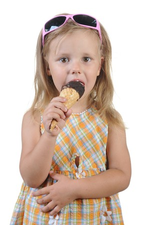 child eating ice cream. Isolated on a white background Stock Photo - 7890917