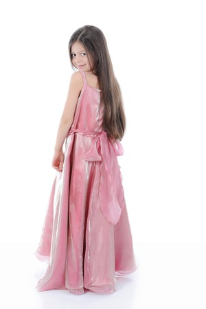 little girl in evening dress. Isolated on white Stock Photo - 7890892