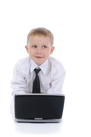 boy with a laptop. Isolated on white background photo