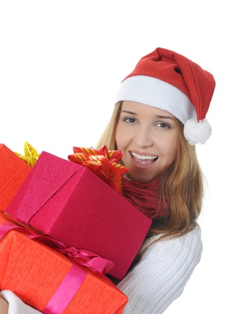 Beautiful christmas woman with a gift. Isolated on white background Stock Photo - 7891005