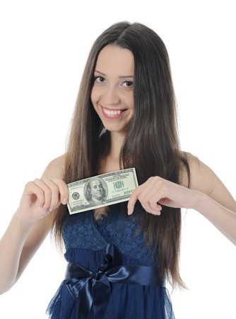 Long-haired young woman holding a dollar bill hundred dollars. Isolated on white background photo
