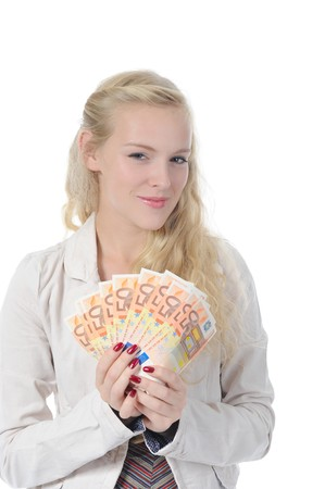 long-haired young blonde woman holding a fan of euro banknotes. Isolated on white photo