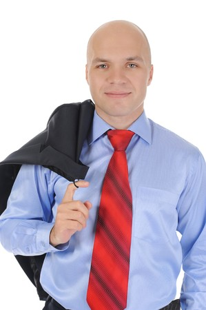 Portrait of young businessman holding a jacket in his hand over his shoulder. Isolated on white background Stock Photo - 7891036