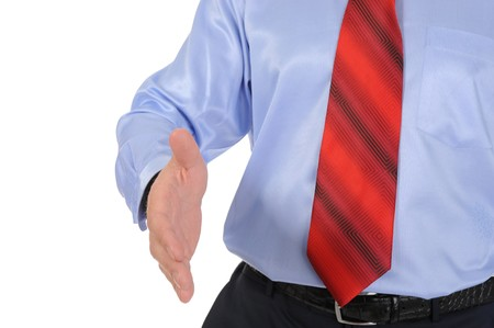 Image businessman pull his hand for a handshake. Isolated on white background photo