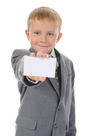 little boy handing a white blank. Isolated on white background photo