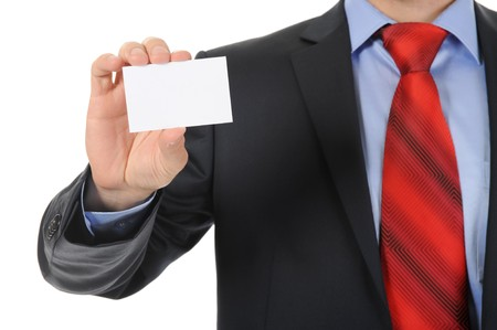 Image of a businessman holding a blank in the hand. Isolated on white background Stock Photo - 7905842