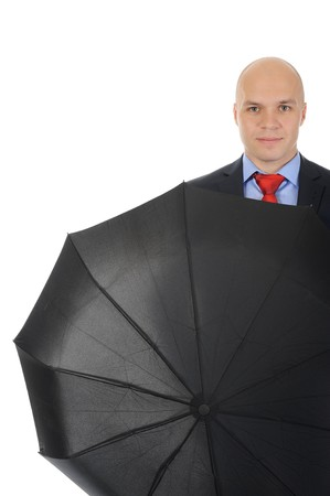 Image of a businessman with umbrella. Isolated on white background Stock Photo - 7891024