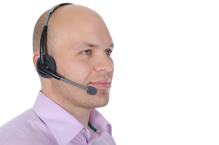 commentator: Business man with a headset isolated on white background