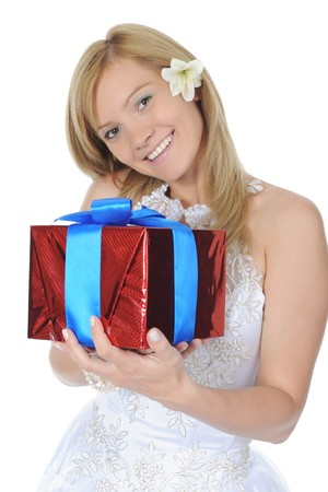 Bride hugging gift box. Isolated on white background Stock Photo - 7891001