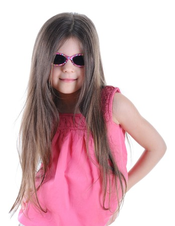 Portrait of a beautiful little long-haired brunette in sunglasses. Isolated on white background photo