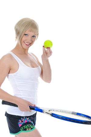 Portrait of a beautiful girl with a tennis racquet in his hand. Isolated on white background photo