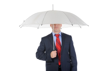 Image of a businessman with umbrella. Isolated on white background Stock Photo - 7983405