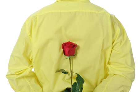 Picture a man in a yellow shirt holding a red rose behind his back. Isolated on white background photo