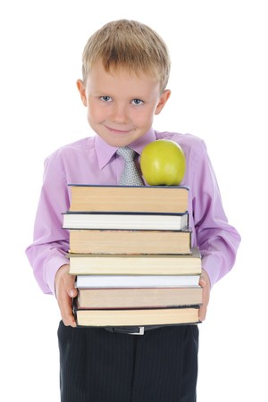 boy holds a stack of books. Isolated on white background Stock Photo - 7983409