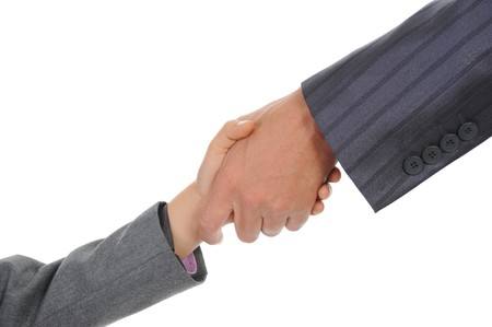 Handshake man and boy. Isolated on white background photo