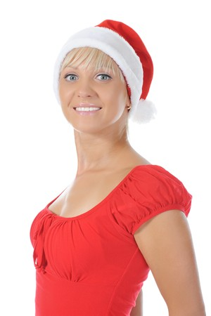 Beautiful christmas  girl. Isolated on white background photo