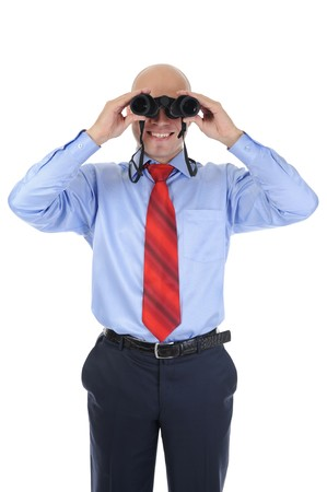 Image of a bald businessman looking through binoculars. Isolated on white background Stock Photo - 7983455