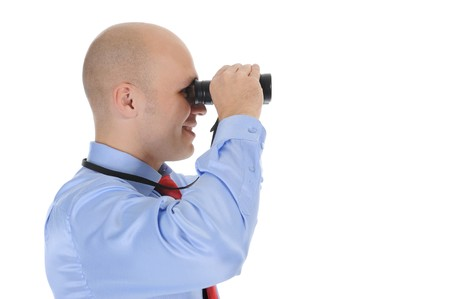 bald businessman looking  through binoculars. Isolated on white background Stock Photo - 7983451
