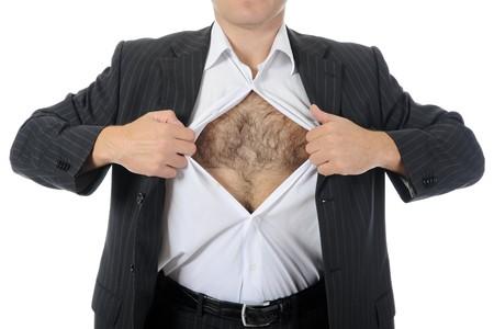 shirt unbuttoned: lacrime di imprenditore apre la sua camicia. Isolated on white