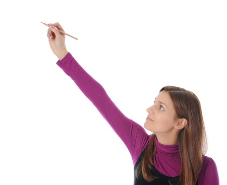 woman holding a pen. Isolated on white background photo