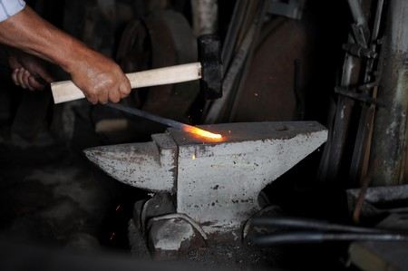 Making a decorative cell in the smithy Stock Photo - 7983526