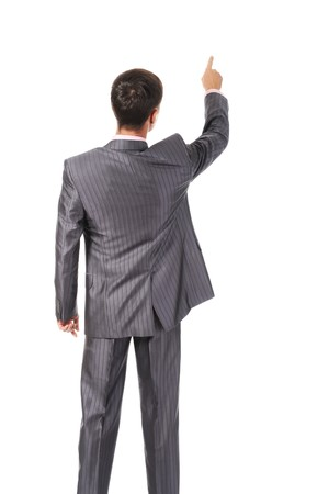 black business men: Businessman points finger up. Isolated on white Stock Photo