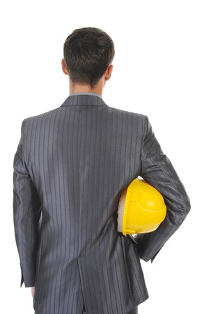 man with construction helmet. Isolated on white background photo