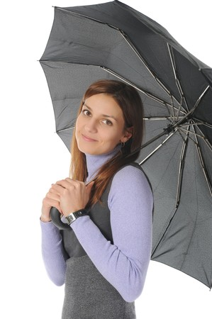 woman handle success: Image of a woman with umbrella. Isolated on white background