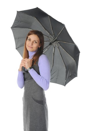 beautiful woman with umbrella. Isolated on white background Stock Photo - 7983580