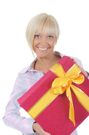smiling blonde with a gift box. Isolated on white background photo