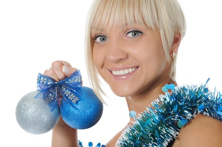 Portrait of a close-up Christmas blonde.  Isolated on white background photo