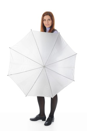 Image of a woman  in a full-length with umbrella. Isolated on white background photo