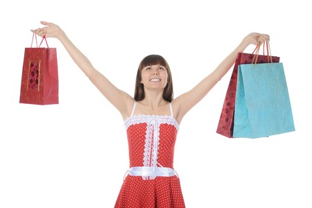 beautiful girl with shopping bags. Isolated on white background Stock Photo - 7983604