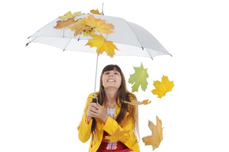 beautiful smiling girl in  in a yellow raincoat.  Isolated on white background Stock Photo - 7983598