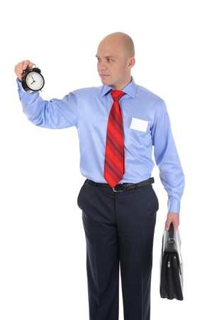 businessman with an alarm clock in a hand. Isolated on white background Stock Photo - 8061606